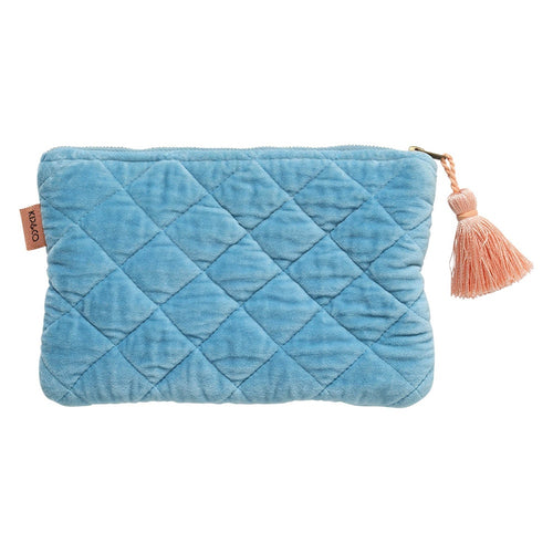 Kip & Co - Aquamarine Velvet Quilted Cosmetic Purse