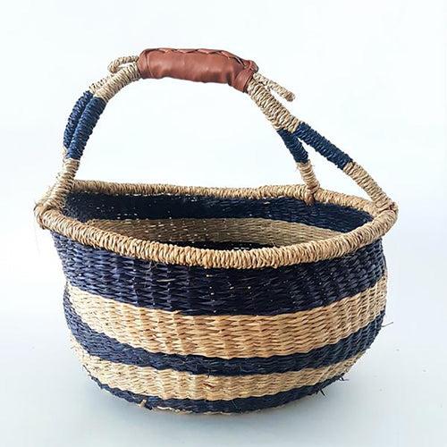 Boho Market Basket - Royal Blue Stripe with Vegan Leather Handle
