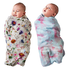 Load image into Gallery viewer, Kip & Co - Bouquet Cream & Mermaids Bamboo Swaddle Set