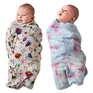 Kip & Co - Bouquet Cream & Mermaids Bamboo Swaddle Set