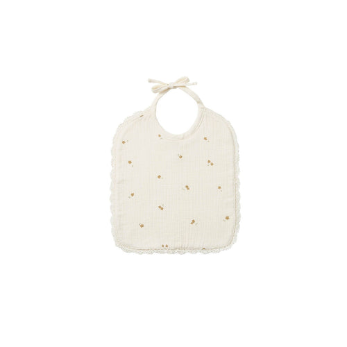 Quincy Mae Woven Tie Bib - Ivory/Tiny Flowers