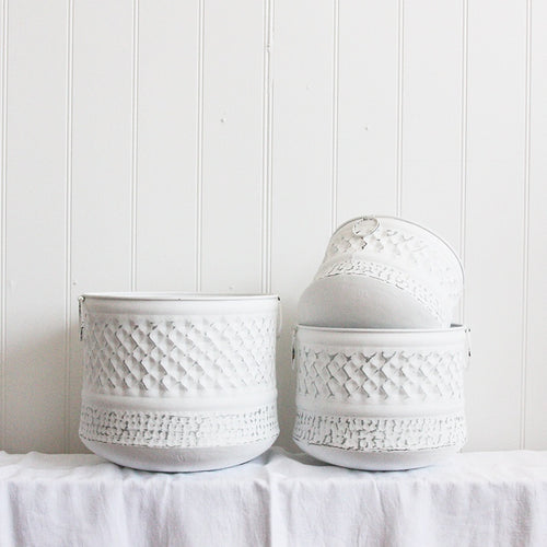 Saarde Axl Pots -  Brushed White
