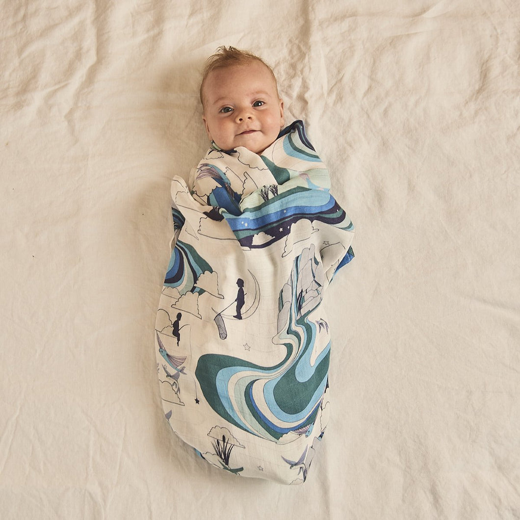 Banabae Organic Cotton  Swaddle - Fishing for Dreams