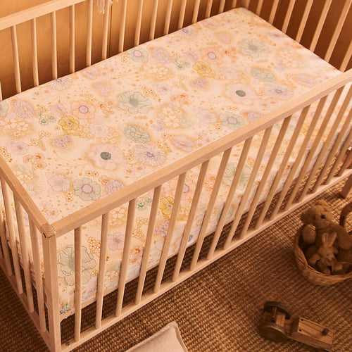 Banabae Hemp/Organic Cotton Fitted Cot Sheet - Apple Blossom