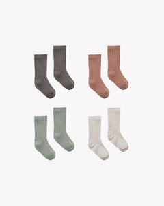 Quincy Mae Socks 4 Pack - Coal, Clay, Eucalyptus, Stone