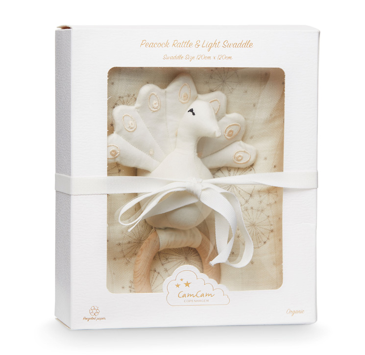 Cam Cam Gift Box with Swaddle and Peacock Rattle - Dandelion Natural