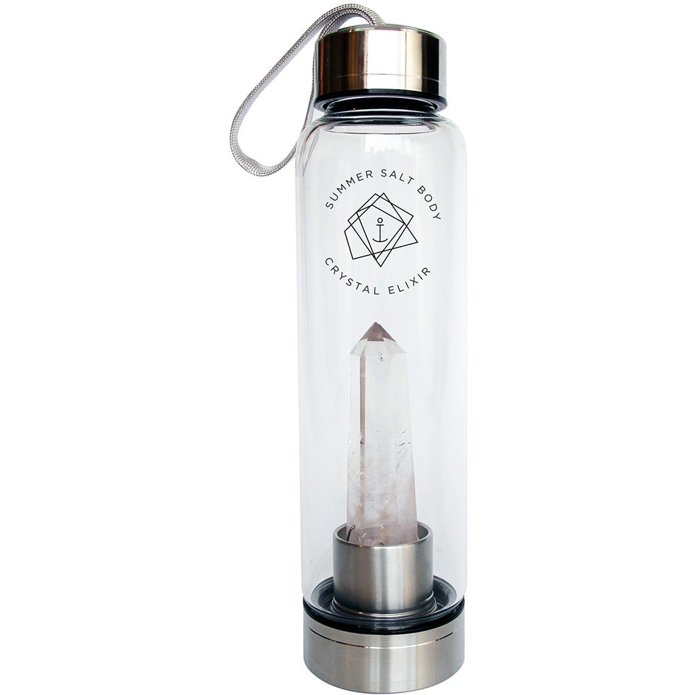 Clear Quartz Crystal Elixir - Glass Water Bottle