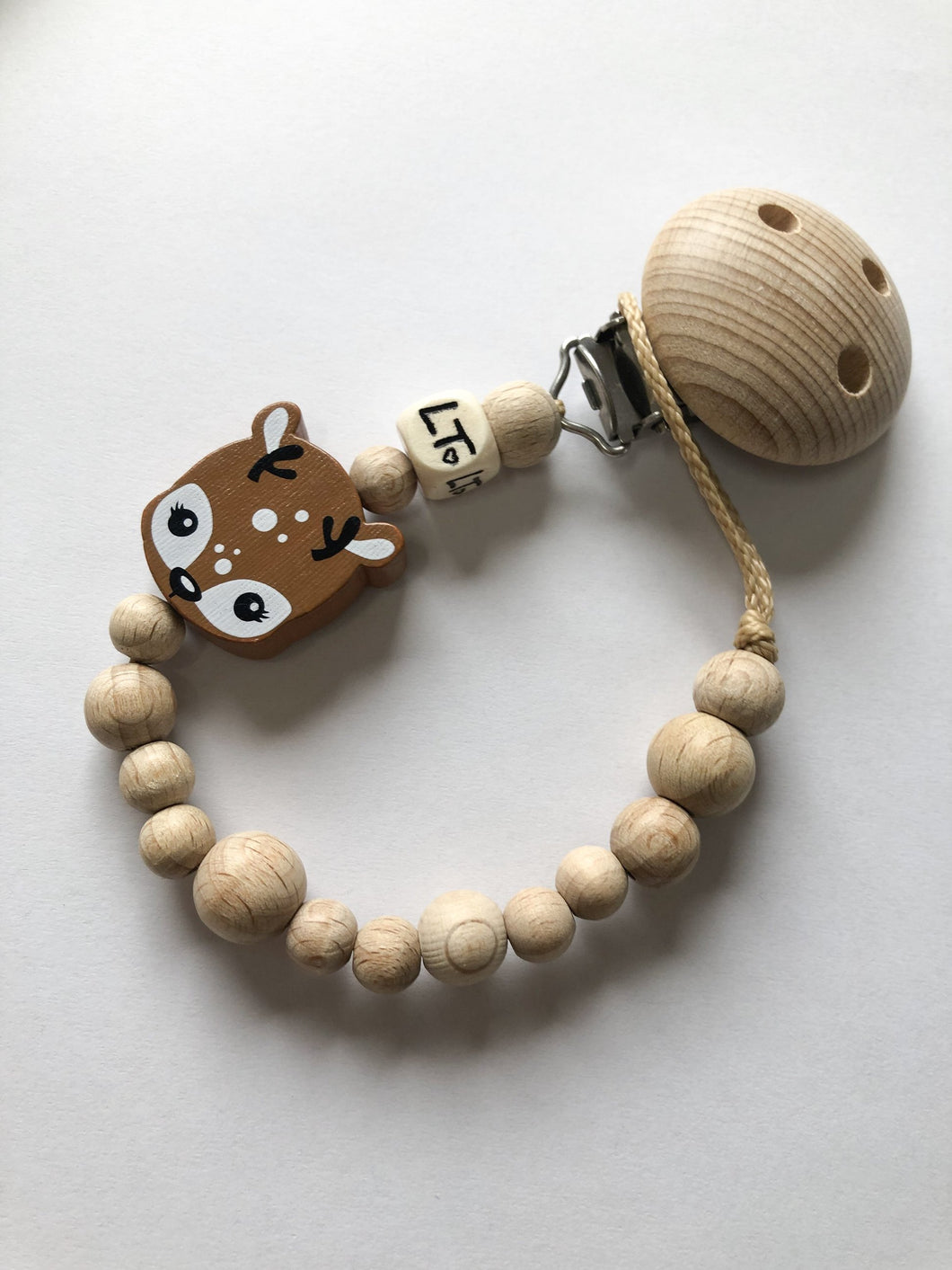 Luna's Treasures  Raw Wooden Soother Chain - Delilah The Deer