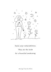 Musings from The Moon- Enjoy your Vulnerabilities Print  - A4 Print With Gold Leaf Detail