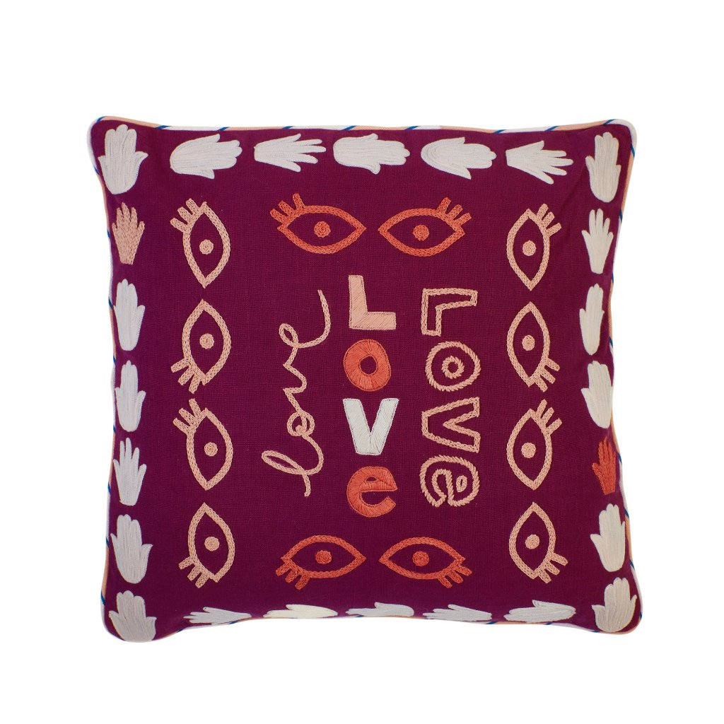 Sage & Clare Farah Embroidered Cushion