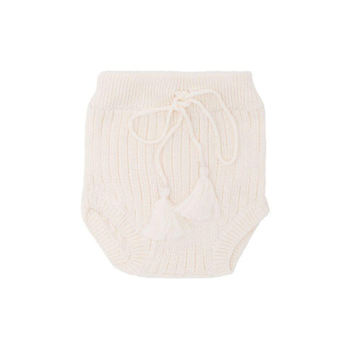Luna Hand Knit Bloomer- White