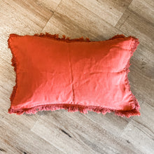 Load image into Gallery viewer, Linen Fringe Cushion - Orange 50cmx30cm