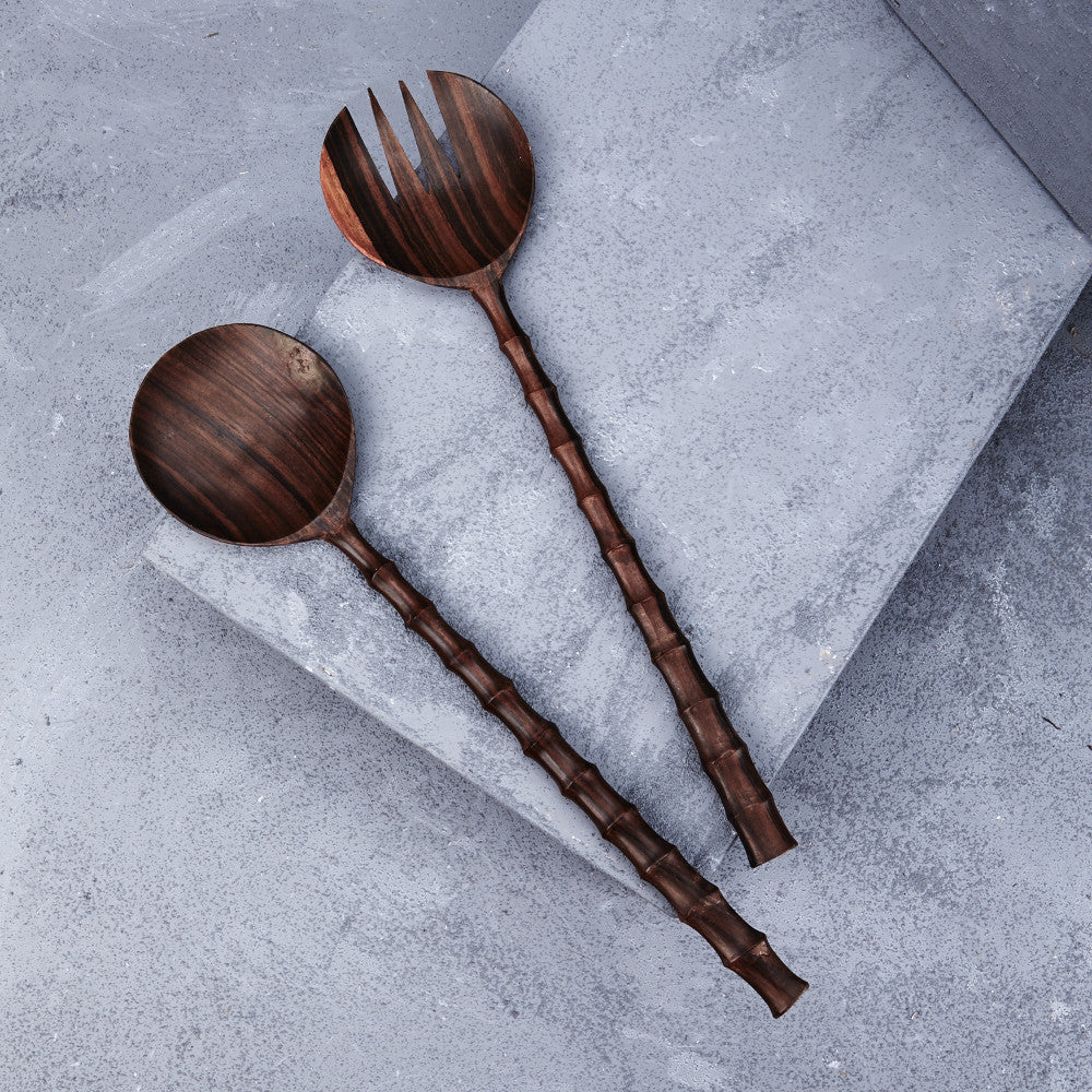 Large Recycled Sono Wood Carved Salad Servers