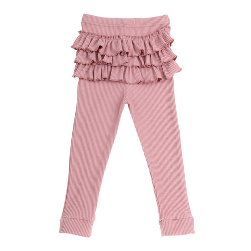 Bonnie & Harlo - Ribbed Ruffle Tights  Dusty Pink