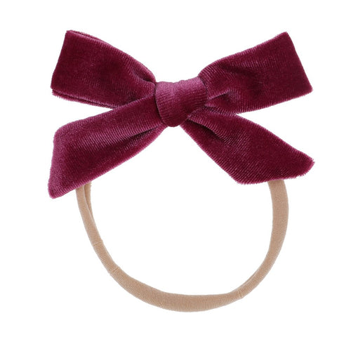 Bonnie & Harlo Velvet Bow Headband - Crimson
