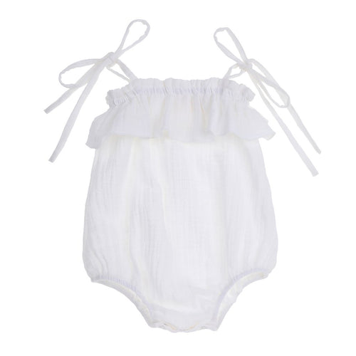 Bonnie & Harlo Tie Shoulder Sunsuit - White