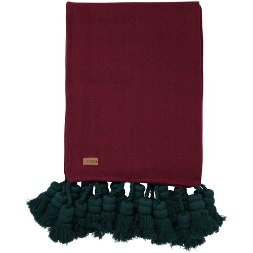 Kip & Co - Beetroot Tassel Throw