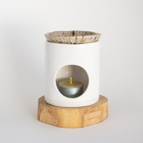 Kim Wallace Ceramic Oil Burner- Classic White + Spotted Gum