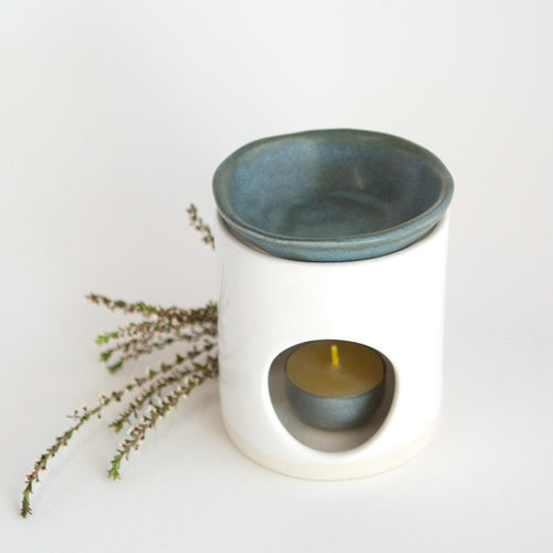 Kim Wallace Ceramic Oil Burner- Classic White + Bluegum