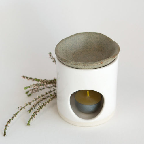 Kim Wallace Ceramic Oil Burner- Classic White + Riverstone