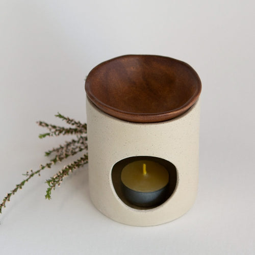 Kim Wallace Ceramic Oil Burner- Natural + Rust