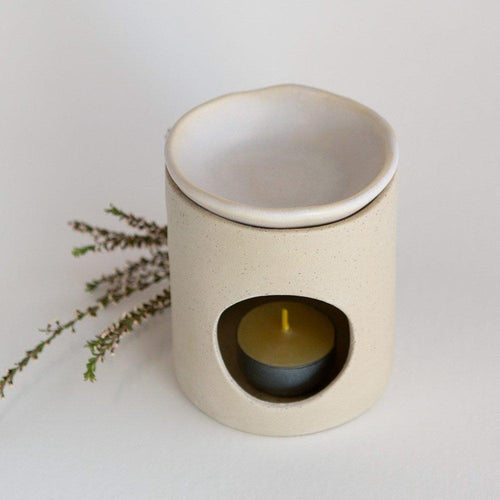 Kim Wallace Ceramic Oil Burner- Natural + Oatmeal