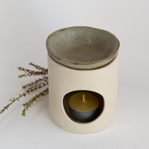 Kim Wallace Ceramic Oil Burner- Natural + Riverstone