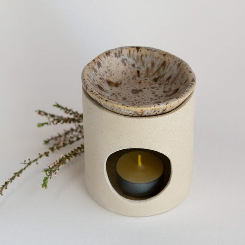 Kim Wallace Ceramic Oil Burner- Natural + Spotted Gum