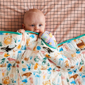 Kip & Co Sea Bed Quilted Cot Beadspread