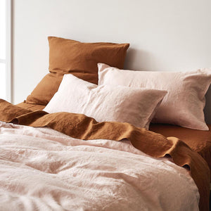 Sage & Clare- Linen Euro Pillowcase Set- Tobacco