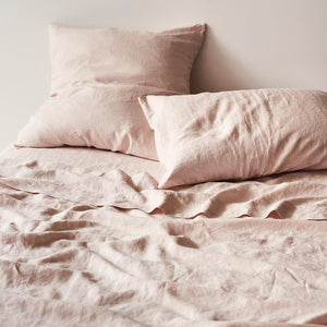 Sage & Clare- Linen Fitted Sheet- Blush