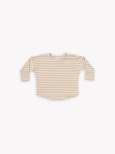 Quincy Mae Long Sleeve Tee - Honey Stripe