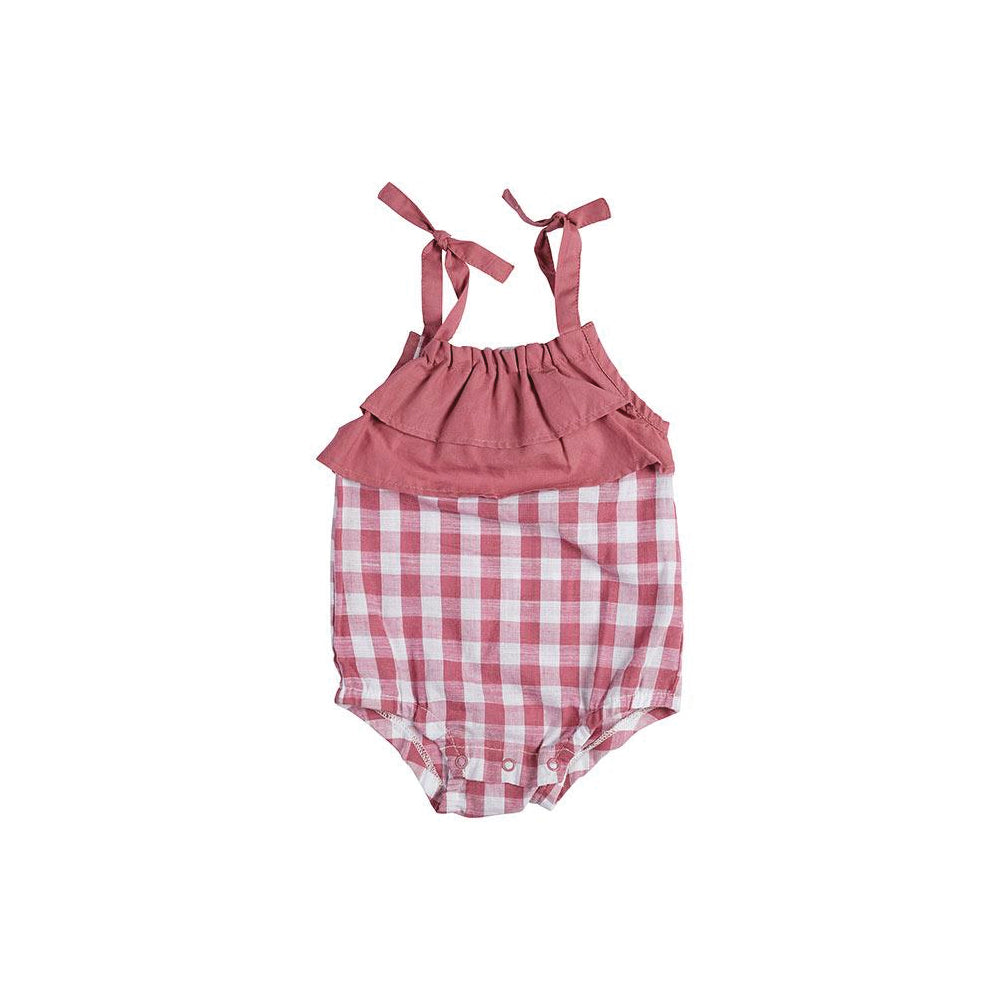 Miann & Co Gingham Shoulder Tie Body Suit - Pink