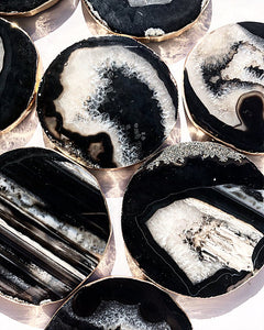 Gilded Brazilian Agate Coasters Set- Onyx and Silver
