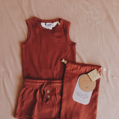 Susukoshi - PJ Singlet & Shorties Set - Burnt Orange
