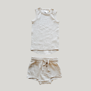 Susukoshi - PJ Singlet & Shorties Set - Cotton Speckle
