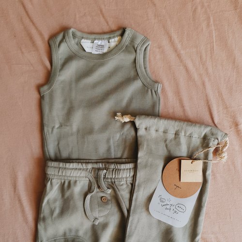 Susukoshi - PJ Singlet & Shorties Set - Sage