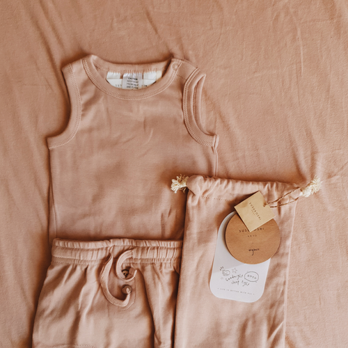 Susukoshi - PJ Singlet & Shorties Set - Tan