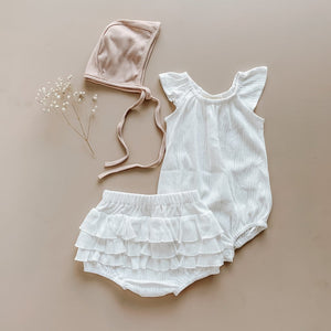Two Darlings - Coconut Pointelle Flutter Romper