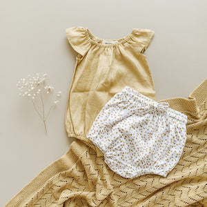 Two Darlings - Golden Linen Flutter Romper