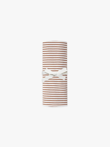 Quincy Mae Baby Swaddle - Rust Stripe