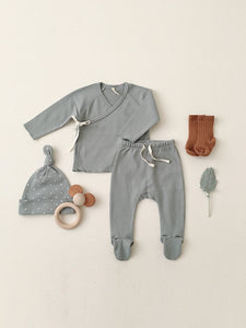 Quincy Mae Kimono Top & Footed Pant Set - Ocean