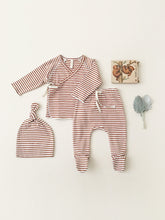 Load image into Gallery viewer, Quincy Mae Kimono Top & Footed Pant Set - Rust Stripe