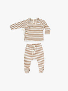Quincy Mae Kimono Top & Footed Pant Set - Rust Stripe
