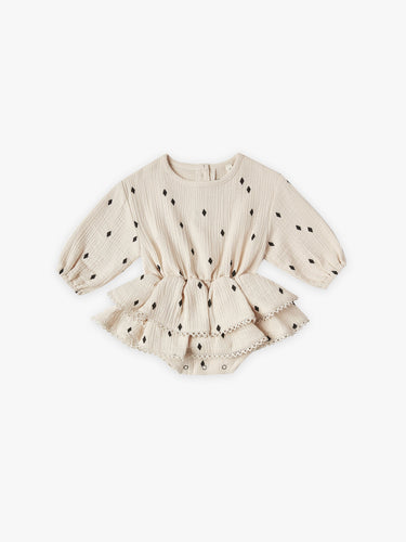 Quincy Mae Rosie L/S Romper - Natural