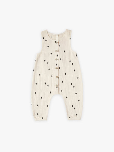 Quincy Mae Woven Sleeveless Snap Jumpsuit - Natural