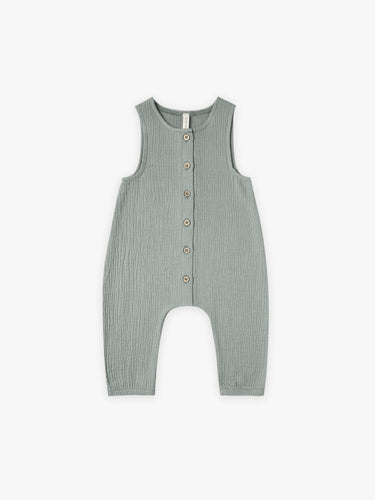 Quincy Mae Woven Sleeveless Snap Jumpsuit - Ocean