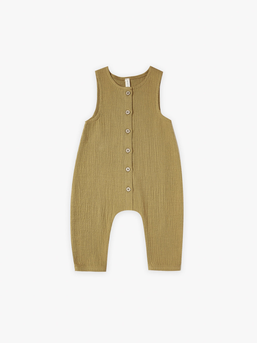 Quincy Mae Woven Sleeveless Snap Jumpsuit - Ocre