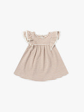 Load image into Gallery viewer, Quincy Mae S/S Flutter Dress - Rust Stripe