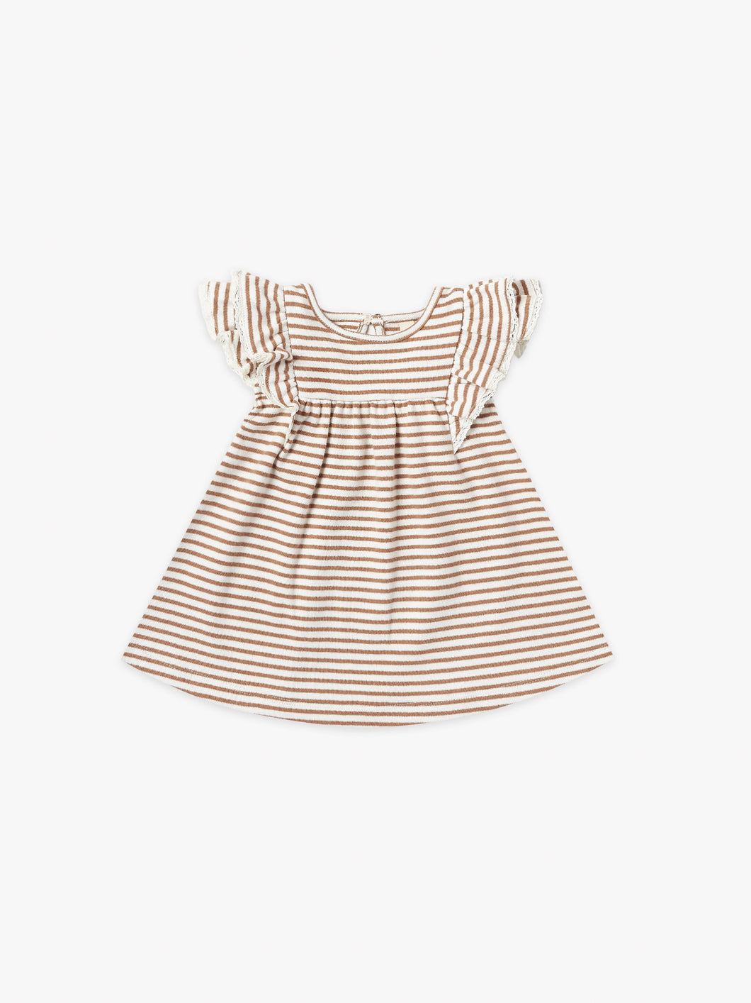 Quincy Mae S/S Flutter Dress - Rust Stripe